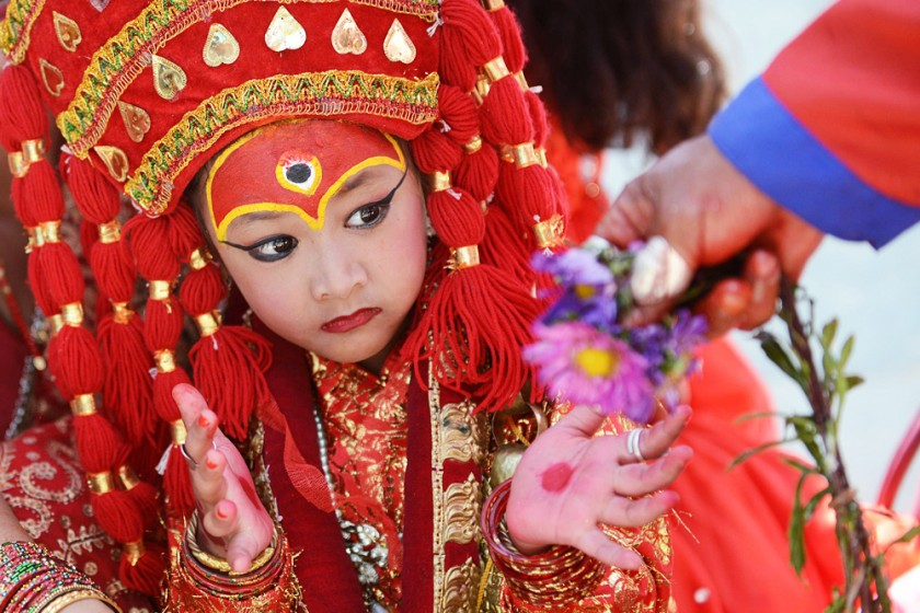 TOPSHOTS A young Nepalese girl dressed i